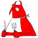 Red devil holding a knife and fork Stock Photography