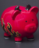 Red Devil Piggy Bank Royalty Free Stock Image