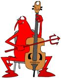Red devil playing a cello Stock Image