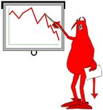 Red devil pointing to a graph. Illustration of a red devil pointing to a graph on a screen Royalty Free Stock Images