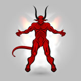 Red devil power. Red devil with a dark power design on gray background Stock Photography