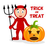 Red Devil & Pumpkin Happy Halloween Royalty Free Stock Photography