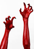 Red Devil's hands with black nails, red hands of Satan, Halloween theme, on a white background, isolated. Studio Royalty Free Stock Photo