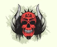 Red Devil Skull with horns and hair royalty free illustration
