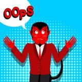 Red Devil speak OOPS. Surprised by demon. Satan is perplexed. St Royalty Free Stock Image