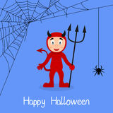 Red Devil & Spider Web Halloween Card Stock Photography