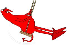 Red devil on a swing. Illustration of a red devil on a rope swing Stock Photography