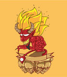 Red devil vector and illustration. Monster in Halloween night Stock Image