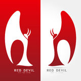 Red devil - vector logo concept illustration. Human character logo. Human with wings and star. Vector logo template. Design element Stock Photography