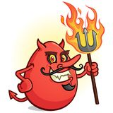 A Red Deviled Egg Cartoon Character Holding a Flaming Pitch Fork Royalty Free Stock Photography