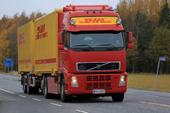 Red DHL Transport Truck on the Road Royalty Free Stock Image