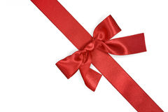 Red diagonal ribbon with bow Royalty Free Stock Images