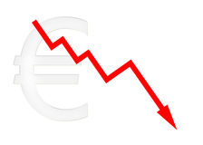 Red diagram downwards with euro symbol Stock Images