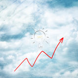 Red diagram with lightbulb on cloudscape background Royalty Free Stock Images
