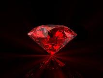 Red diamond on black background Stock Photo