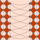 Red diamond, the chain on peach background. Red diamond and the chain Stock Images
