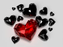 Red diamond heart Stock Images