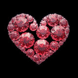 Red diamond heart - isolated with clipping path. Red diamond heart on black- isolated with clipping path Stock Images