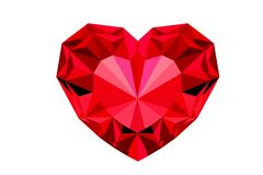 Red diamond heart jewelry isolated on white background - illustration design. Red diamond heart jewelry isolated white background illustration design graphic gem royalty free illustration