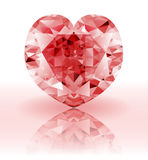 Red Diamond, heart shaped ruby gemstone Royalty Free Stock Images