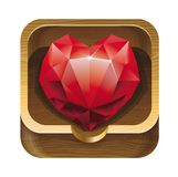 Red diamond heart in wooden box Royalty Free Stock Photography