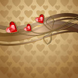 Red diamond hearts. Beautiful three red diamond hearts and gold ornaments Vector Illustration