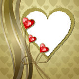 Red diamond hearts with gold ornaments Royalty Free Stock Image