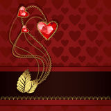Red diamond hearts and gold ornaments. Beautiful three red diamond hearts and gold ornaments on red background Stock Photo