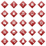 Red diamond icons. Red diamond icon set on white background Stock Images