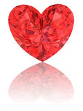 Red diamond in shape of heart on glossy white Royalty Free Stock Images