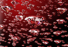 Red diamond  on white background with clipping path.  Royalty Free Stock Images