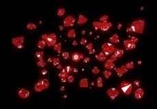 Red Diamonds Isolated on Black Background Stock Photos
