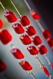Red diamonds on rope Royalty Free Stock Photo
