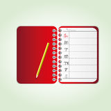 Red diary. Blank page Red diary with pencil Stock Images