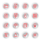 Red diary icons. On grey buttons Royalty Free Stock Photos