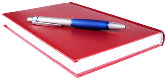 Red diary and pen Royalty Free Stock Images
