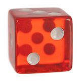 Red dice. A single red dice on white stock photography