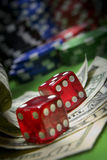 Red Dice. Pair of red dice in an amazingly iconic casino and gambling scene stock photos