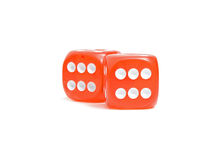 Red dice. Photo of red dice over white showing sixes Royalty Free Stock Photography