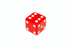 Red dice. Isolated on white royalty free stock photo