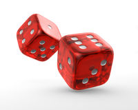 Red dice. Two red dice on white background stock illustration