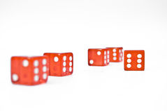 Red dice. Five red dice on a white isolated background Stock Image