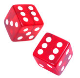 Red Dice. Pair of red casino dice on white background Stock Images