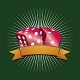 Red dice. Red glass dice with gold banner ready for text Stock Image