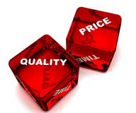 Red dice. Two dice designating quality-price vector illustration