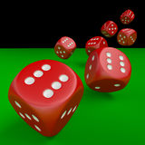 Red Dice. Seven red dice on green table with clipping path Stock Images
