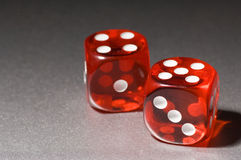 Red Dice. Two red dice isolated and close up Royalty Free Stock Photo