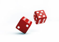 Red Dice 3D Illustration on white background Royalty Free Stock Photography