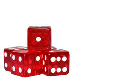 Red Dice. Casino dice isolated over white royalty free stock photos
