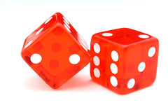 Red dice. Two red dice side by side over a white surface royalty free stock photo